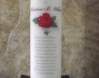 Personalized Delicate Rose Memorial Candle - White with WICK or TEALIGHT Insert
