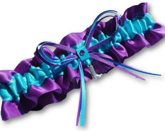 Western Wedding Garter SINGLE or SET, beautiful Personalized purple and turquoise blue satin with cowboy boot