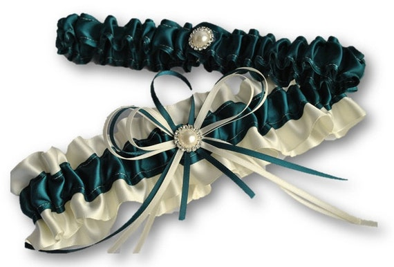 Wedding Garter Set , beautiful green Teal and ivory with Pearls and diamantes, satin garters