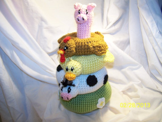 Farm Friends Stacker Crochet stacking ring baby toy ANY animals you want ANY colors you want