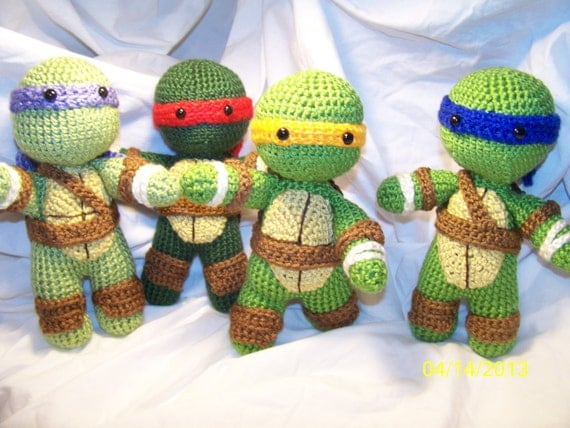 Crochet Ninja Turtle : Crochet Teenage Mutant Ninja Turtle Set of all 4 crochet turtle