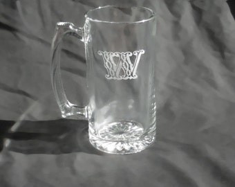 10 Custom Engraved Monogrammed Groomsmen Beer Mugs