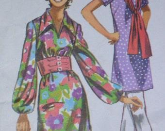 70s Sash Waist Dress Pattern Simplicity 9219 Bust 36