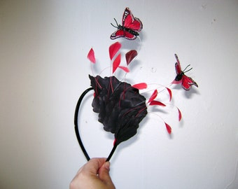 Leather and Lipstick and Rock n Roll Floating Butterflies Fascinator Headband