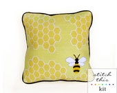 honey bee graphic modern needlepoint kit - diy - contemporary