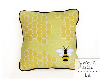 honey bee graphic modern needlepoint kit - diy - contemporary