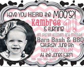 Customized Cow Birthday Party Invitation / Girl or Boy Farm Party Invite
