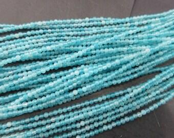 5 str- Tiny 2mm round Ocean Blue Jade seed Beads - No3