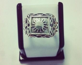 Mayan Sun Charm Sterling Silver Ring