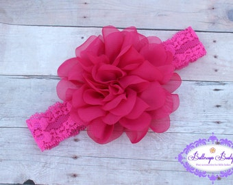 Baby headband, infant headband, newborn headband, pink flower headband, photo prop, pink chiffon flower on white lace headband