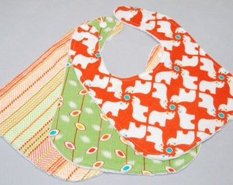 Set of 3 Rhinos, Leaves, and Stripes Bibs, Boy