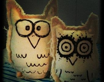 Set of Owlets, Handmade & Handprinted