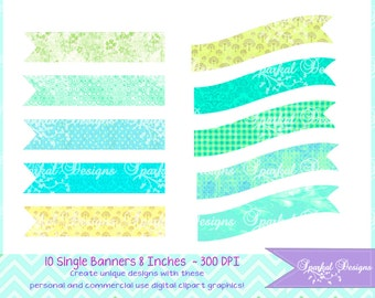 Banner Clipart Polka dots Flag Clip Art Party Decoration Invitation Clipart Instant Download Banner Flags Digital Paper