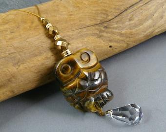 Owl Car Charm, Rear View Mirror Charm, Car Charm, Car Crystal, Car Accessories, Animal Totem, Car Decoration, Owl Totem, Window Crystal