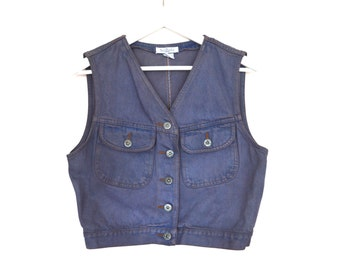 90's Cropped and Dyed Denim Vest size - M