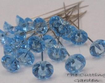 """Corsage / Boutonniere Pins 2"""" Light Blue Diamante"""