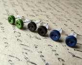 Mini Button Earrings Posts - Tiny Buttons in Navy Blue, Forest Green, Blackest Green - Small Earring Studs - Shipwreck Collection