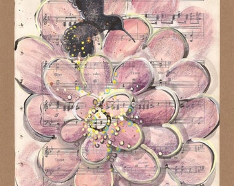 Give it Hur-ras... original painting, hummingbird and zinnia, recycled book art, Antique1930s sheet music book page
