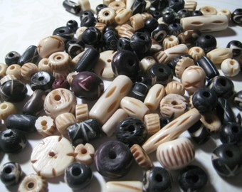 Wood and Bone Mix Beads  100 Pieces