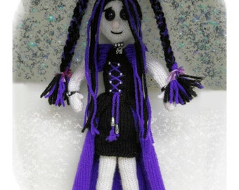 Gabrielle knitted Goth Doll :  Pattern only IMMEDIATE DOWNLOAD