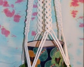 Macrame Plant Hanger White Cord No Beads Mediterranean Accent 34 inch total length