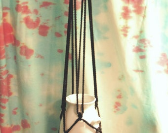 Macrame Hanger Black Cord with White Porcelain Vase 42 inches total length Black and White Decor