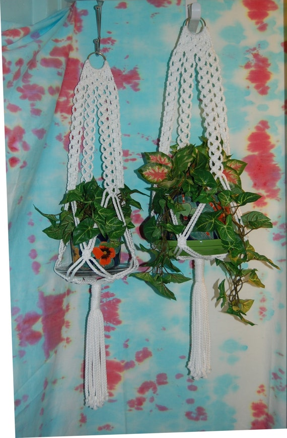 RESERVED ------------------------------- Set of 2 Macrame Plant Hanger White Cord No Beads Mediterranean Accent 32 inch total length