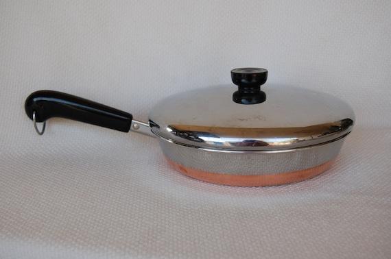 Vintage Revere Ware 9 Inch Covered Skillet 1801 Copper Clad