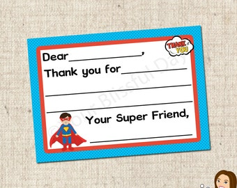 PRINTABLE Superhero Fill-in-the-Blank Thank You Cards #591