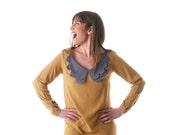 Winter SALE, Women long sleeve dress, Mustard Viscose dress, Scalloped collar , Formal dress, Shift dress