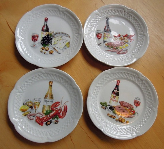 Lourioux porcelain wine and cheese canape plate by for Canape plate sets