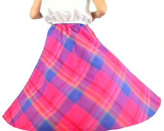 Plaid Skirt Pink and Blue Vintage 1980s Size Small 24 inch waist Pink Skirt     X