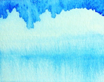 Ice Blue Lake, glacier bay, GICLEE watercolor painting print, nature art, cerulean blue sky, Alberta Canada, matted 8x10