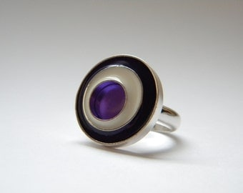Sterling Silver and Resin Circle Ring in Bright Purple, Plum, and Cream