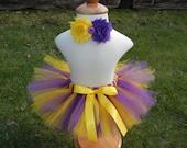 Purple and Yellow Tutu / Headband Set, Children's tutu set, Newborn tutu, Baby Tutu, Toddler Tutu, Baby Girl Skirt, Minnesota Vikings