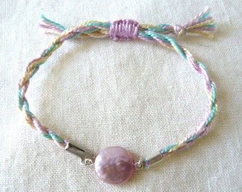 Aqua and Lavender Coin Pearl Friendship Bracelet - Fairytale