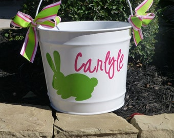 Personalized Easter Bucket - 10 QT assorted colors - Bunny Basket