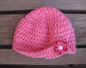 crochet vintage baby girl cap with flower