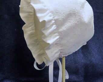 Baby Reversible Sunbonnet Hat White Eyelet