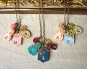 Mother's Day Letters Cluster - Children names necklace - Grandma Necklace