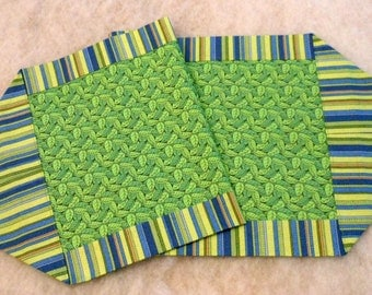 Cotton Table Runner Mint Green Blue Striped Border