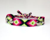 Studded neon friendship bracelet - silver cones