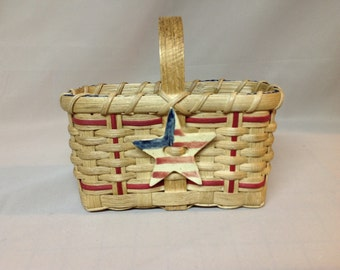 SALE! Hand Woven Patriotic Basket with Wood Handle, Red Accent Weaving and Stoneware Star Tie-on