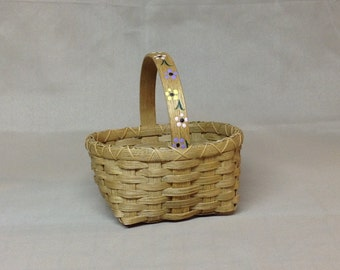 Cute Little Hand Woven Basket, Simple Hand Painted Flower Across the Handle