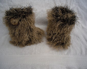 Furry boots, snow boots, pre walkers,  handknit, brown booties, high leg, furry booties, baby boots, funky, baby shower, made to order