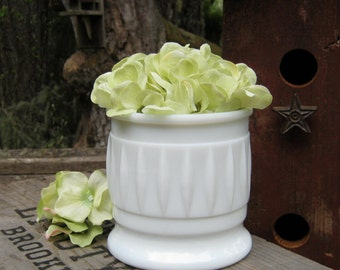 Milk Glass Planter with Elongated Diamond Design - Wedding Vase - Ribbed Art Deco Style - Oak Hill Vintage