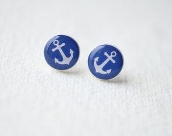 Anchor Ear Posts - Nautical jewelry  - Stud Earrings