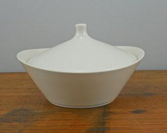 White MCM Covered Dish