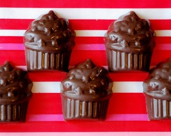 Cupcake Shaped Chocolates - One Dozen - Valentines Day - Party Favors