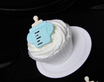 Modern Blue Baby Bottle Fondant Cupcake Toppers